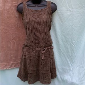 Athleta brown knit mid length dress with lining